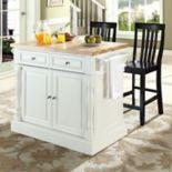 Crosley Furniture 3-piece Kitchen Island & School House Counter Chair Set