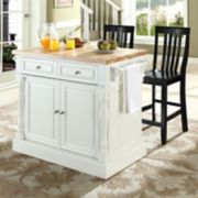 Crosley Furniture 3-piece Kitchen Island and School House Counter Chair Set