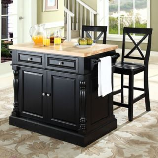 Crosley Furniture 3-piece Kitchen Island and X-Back Counter Chair Set