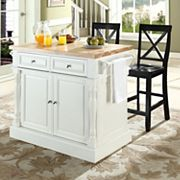 Crosley Furniture 3 pc Kitchen Island & X-Back Counter Chair Set