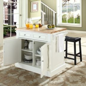 Crosley Furniture 3-piece Kitchen Island and Saddle Counter Stool Set