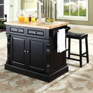 Crosley Furniture 3-piece Kitchen Island and Saddle Counter Stool Set