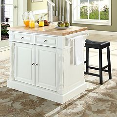 Crosley Furniture 3 pc Kitchen Island & Saddle Counter Stool Set