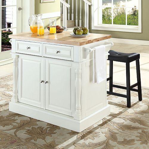 Kitchen Island Furniture Piece: Crosley Furniture 3-piece Kitchen Island & Saddle Counter