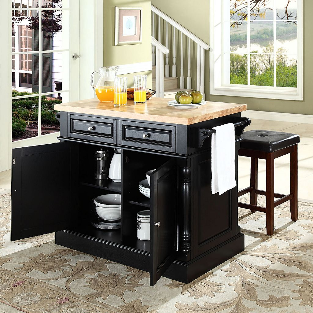 Crosley Furniture 3-piece Kitchen Island and Counter Stool Set