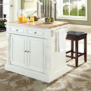 Crosley Furniture 3 pc Kitchen Island & Counter Stool Set