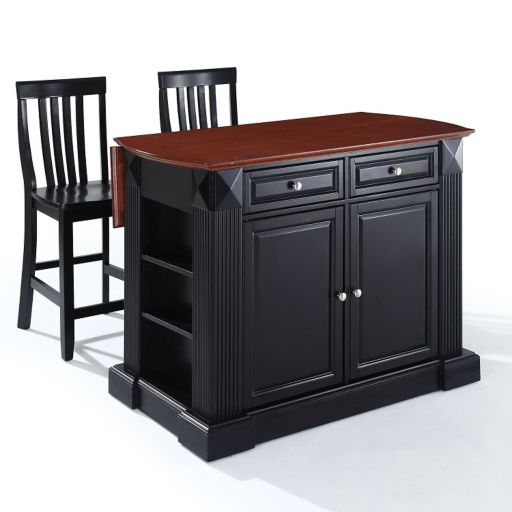 Crosley Furniture 3-piece Drop-Leaf Kitchen Island and School House Counter Chair Set