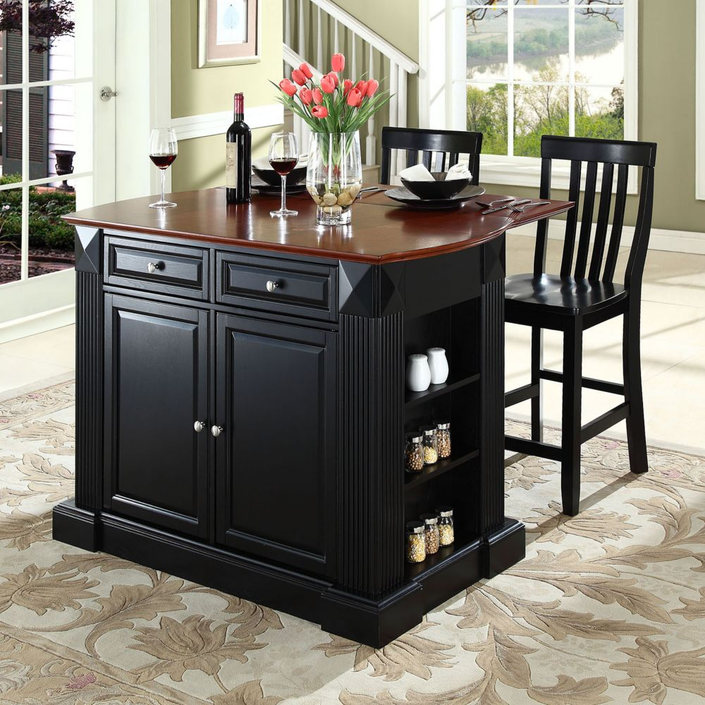 furniture 3-piece drop-leaf kitchen island & school house counter