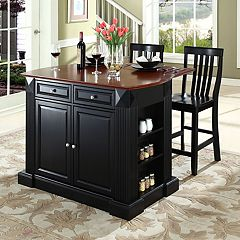 Crosley Furniture 3 pc Drop-Leaf Kitchen Island & School House Counter Chair Set