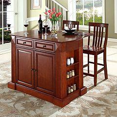 Crosley Furniture 3 pc Drop-Leaf Kitchen Island & School House Counter Chair Set