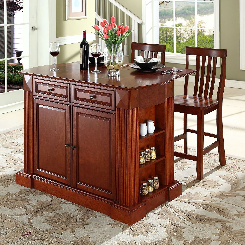 Crosley Furniture 3 Piece Drop Leaf Kitchen Island U0026 School House Counter  Chair Set