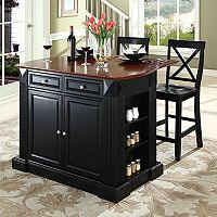 Crosley Furniture 3-piece Drop-Leaf Kitchen Island & X-Back Counter Chair Set