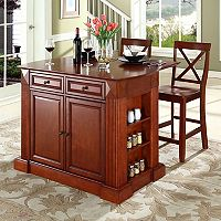 Crosley Furniture 3 pc Drop-Leaf Kitchen Island & X-Back Counter Chair Set
