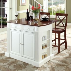 Crosley Furniture 3-piece Drop-Leaf Kitchen Island and X-Back Counter Chair Set