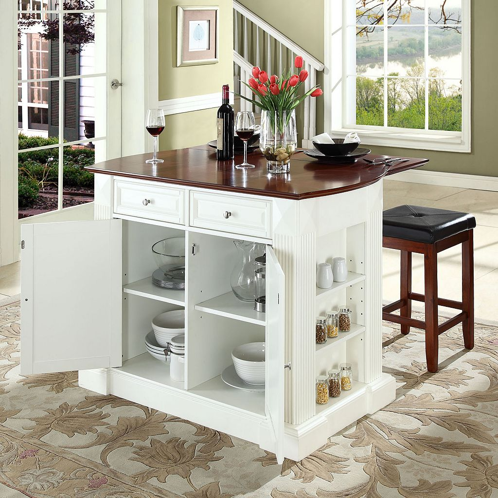 Crosley Furniture 3-piece Drop-Leaf Kitchen Island and Counter Stool Set