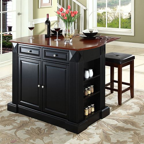 Kitchen Island Furniture Product: Crosley Furniture 3-piece Drop-Leaf Kitchen Island
