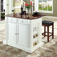 Crosley Furniture 3 pc Drop-Leaf Kitchen Island & Counter Stool Set