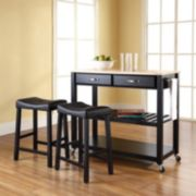 Crosley Furniture 3-piece Wood Top Kitchen Island Cart & Counter Stool Set