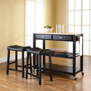 Crosley Furniture 3-piece Wood Top Kitchen Island Cart and Counter Stool Set