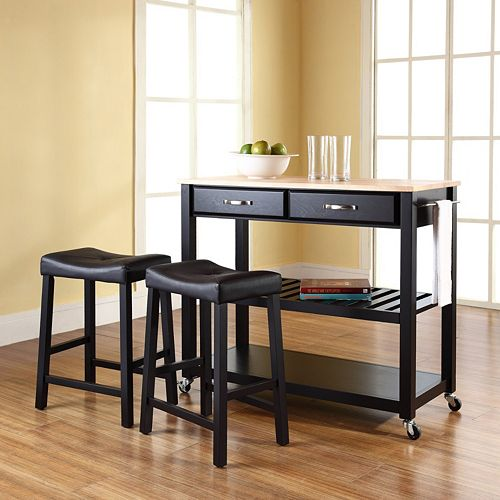 Crosley Furniture 3 Piece Wood Top Kitchen Island Cart Counter Stool Set
