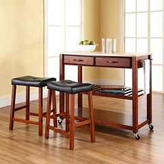Crosley Furniture 3 pc Wood Top Kitchen Island Cart & Counter Stool Set