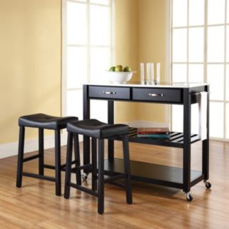Crosley Furniture 3-piece Stainless Steel Top Kitchen Island Cart and Counter Stool Set