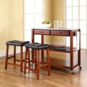 Crosley Furniture 3-piece Stainless Steel Top Kitchen Island Cart & Counter Stool Set