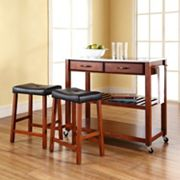 Crosley Furniture 3 pc Stainless Steel Top Kitchen Island Cart & Counter Stool Set