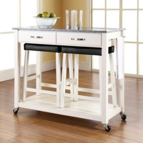 Crosley Furniture 3-piece Granite Top Kitchen Island Cart and Counter Stool Set