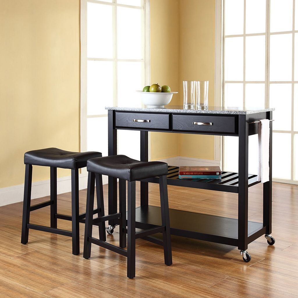 Crosley Furniture 3-piece Granite Top Kitchen Island Cart & Counter Stool Set