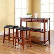 Crosley Furniture 3 pc Granite Top Kitchen Island Cart & Counter Stool Set