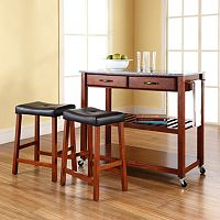 Crosley Furniture 3 pc Granite Top Kitchen Island Cart & Counter Stool Set