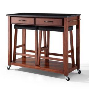 Crosley Furniture 3-piece Black Granite Top Kitchen Island Cart and Counter Stool Set