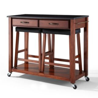 Crosley Furniture 3-piece Black Granite Top Kitchen Island Cart and Counter Stool Set