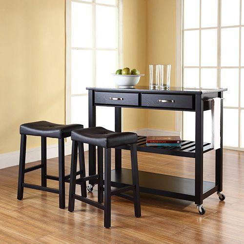 Stainless Steel Top Kitchen Island Counter Height Utility: Crosley Furniture 3-piece Black Granite Top Kitchen Island