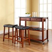 Crosley Furniture 3 pc Black Granite Top Kitchen Island Cart & Counter Stool Set