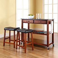 Crosley Furniture 3 pc Black Granite Top Kitchen Island Cart & Counter Stool Set