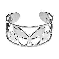 Steel City Stainless Steel Openwork Butterfly & Flower Cuff Bracelet