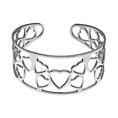 Steel City Stainless Steel Openwork Heart Cuff Bracelet