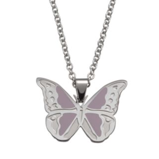 Steel City Stainless Steel Butterfly Pendant Necklace