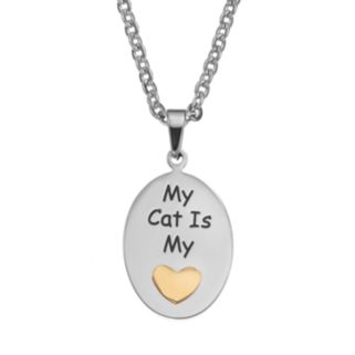 """Steel City Stainless Steel Two Tone """"My Cat is my Heart"""" Pendant Necklace"""