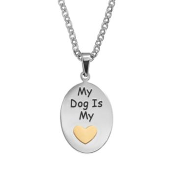 """Steel City Stainless Steel Two Tone """"My Dog is my Heart"""" Pendant Necklace"""