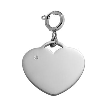 Steel City Cubic Zirconia Stainless Steel Heart Charm