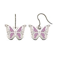 Steel City Stainless Steel Butterfly Drop Earrings