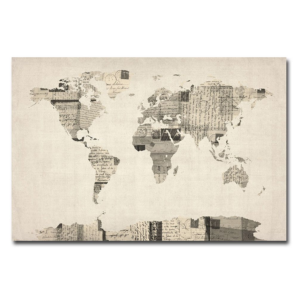 Vintage postcards world map canvas wall art vintage postcards world map canvas wall art gumiabroncs Gallery