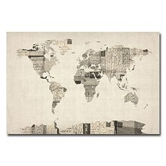 'Vintage Postcards World Map'' Canvas Wall Art