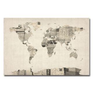 """Vintage Postcards World Map'' Canvas Wall Art"