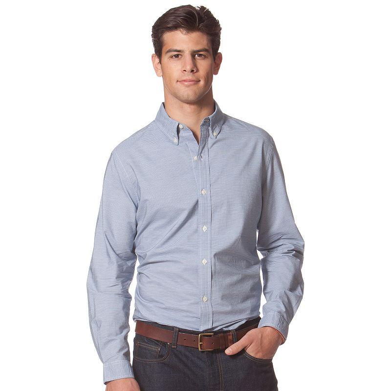 Chaps striped modern fit button down shirt men for Chaps button down shirts