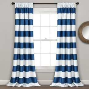 Lush Decor Striped Blackout Window Curtain Pair