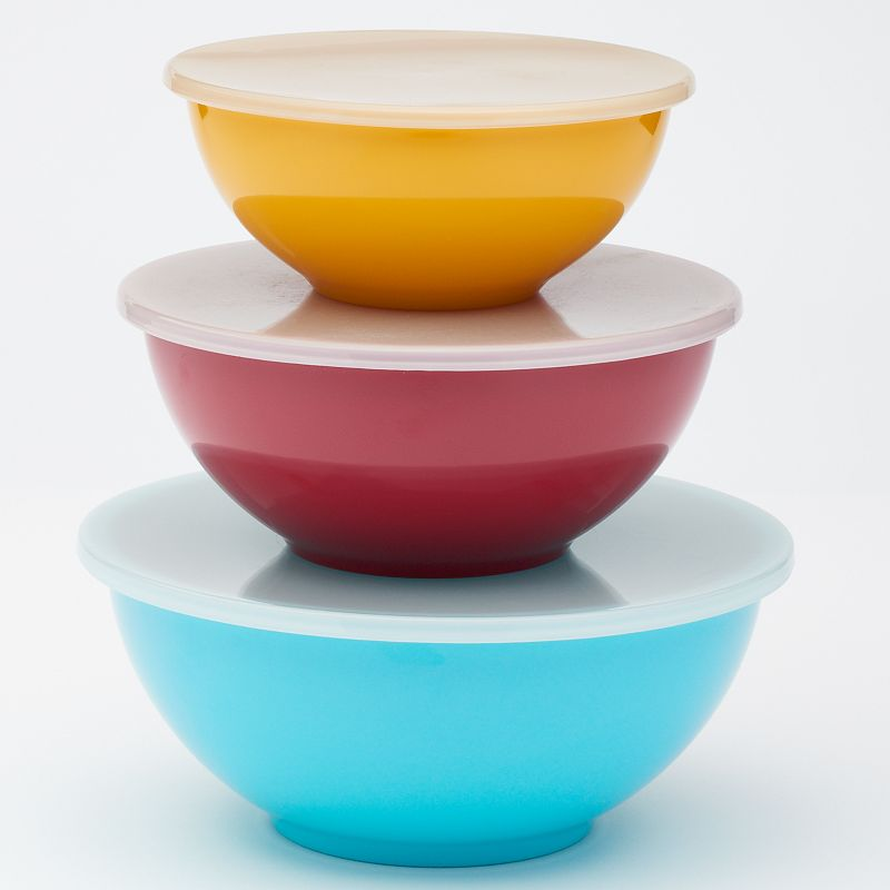Food Network 3-pc. Nesting Melamine Mixing Bowl Set Simplify baking and food prep with these reliable Food Network nesting bowls. Sturdy melamine construction promises lasting use. Nesting design ensures carefree storage. Tight-fitting lids let you store fresh ingredients. WHAT'S INCLUDED 5.91-cup covered mixing bowl 2.44-qt. covered mixing bowl 3.91-qt. covered mixing bowl Melamine Dishwasher safe - top rack only Imported Size: One Size. Color: Multicolor. Gender: unisex. Age Group: adult.